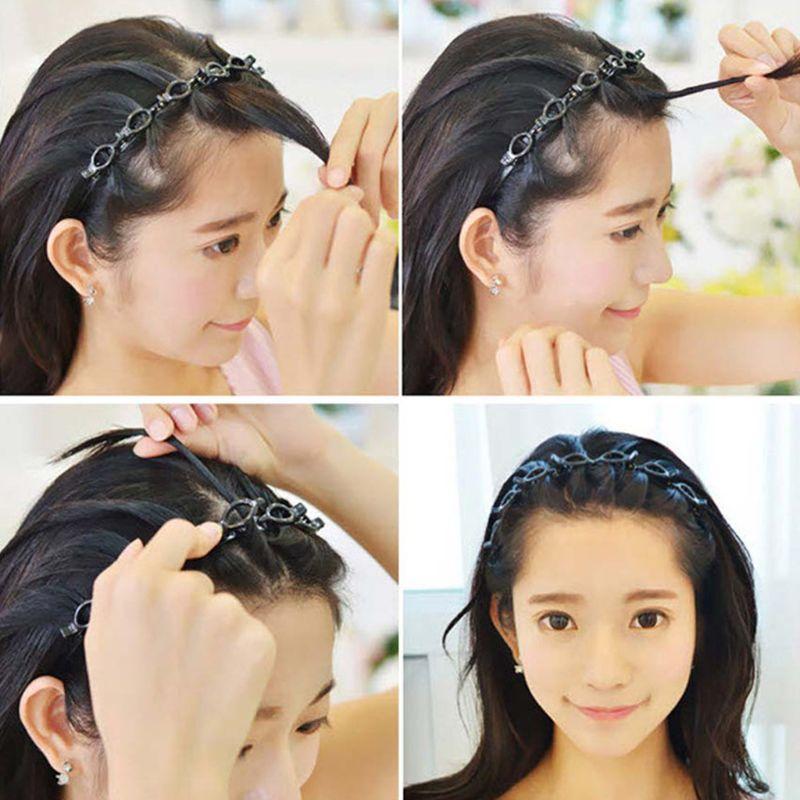 Podwójna warstwa Twist warkocz opaska na głowę narzędzia do włosów, podwójna grzywka spinka do włosów, wielowarstwowa z wcięciem, tkany pałąk