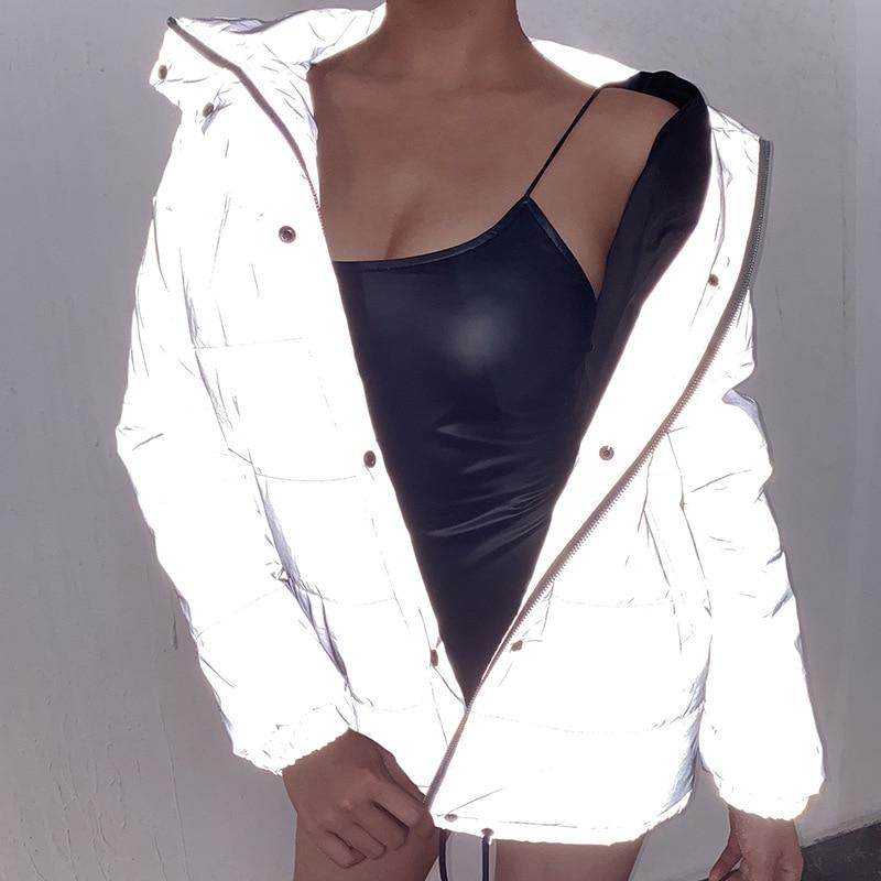 Odblaskowy szary zamek ponadgabarytowe damskie kurtki długi guzik na rękawie luźny, gruby krótka kurtka seksowna sukienka płaszcz zimowy 2019