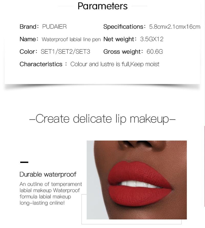 Marka 12 sztuk Matte Lip Liner zestaw, długotrwały, matowy gładka ołówek do konturu ust Lipline wielofunkcyjny makijaż kosmetyki pióro